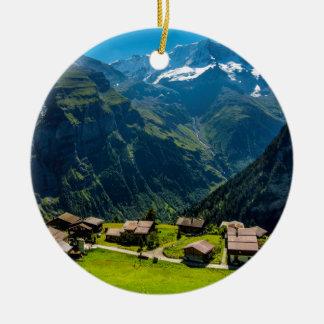 Ornement Rond En Céramique Gimmelwald dans les Alpes suisses - Suisse