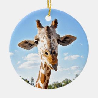 Ornement Rond En Céramique Girafe idiote