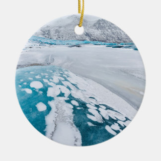 Ornement Rond En Céramique Glace congelée de glacier, Islande