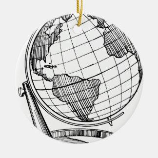Ornement Rond En Céramique Globe du monde