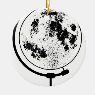 Ornement Rond En Céramique Globe lunaire monté sur le pivot tournant