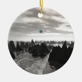 Ornement Rond En Céramique Globes bleus mystérieux