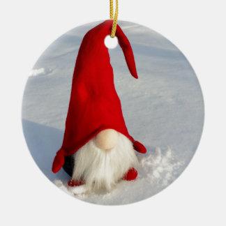 Ornement Rond En Céramique Gnome scandinave de Noël