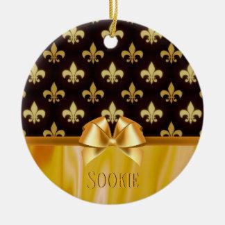 Ornement Rond En Céramique Gold Fleur de Lis Pattern la Nouvelle-Orléans