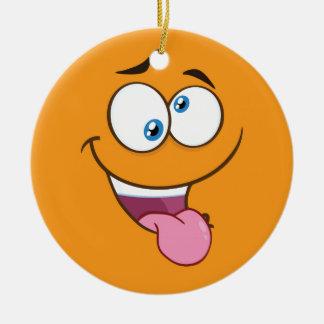 Ornement Rond En Céramique Goofy idiot Emoji carré