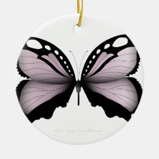 Ornement Rond En Céramique Grand chasseur rose de papillon rose