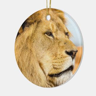 Ornement Rond En Céramique Grand lion regardant loin