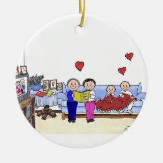 Ornement Rond En Céramique Grand-maman et grand-papa, 2 enfants