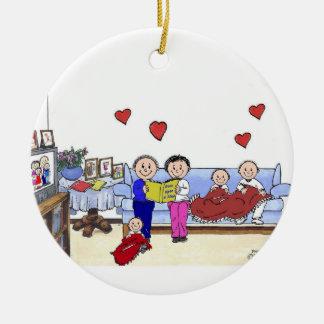 Ornement Rond En Céramique Grand-maman et grand-papa, 3 enfants