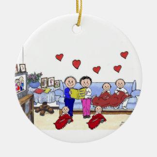 Ornement Rond En Céramique Grand-maman et grand-papa, 4 enfants