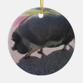 Ornement Rond En Céramique Grand porc