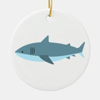Ornement Rond En Céramique Grand style de primitif de requin blanc
