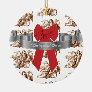Ornement Rond En Céramique Grande acclamation rouge de Noël d'arc et d'anges