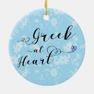 Ornement Rond En Céramique Grec à la décoration de vacances de coeur, Grèce