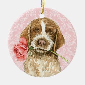 Ornement Rond En Céramique Griffon rose de Valentine