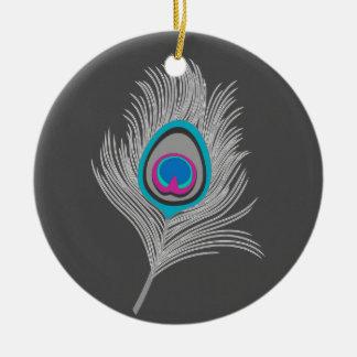 Ornement Rond En Céramique Gris argenté/plume grise de paon sur le graphite