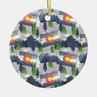 Ornement Rond En Céramique Gris du Colorado d'aquarelle