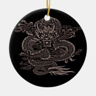 Ornement Rond En Céramique Gris épique de dragon