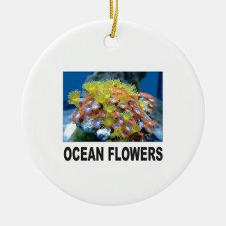 Ornement Rond En Céramique groupe de fleur d'océan