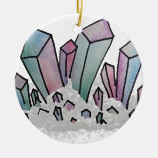 Ornement Rond En Céramique Groupe en pastel de cristal d'aquarelle