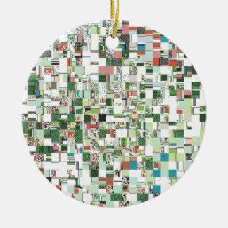 Ornement Rond En Céramique Groupes chaotiques de vert