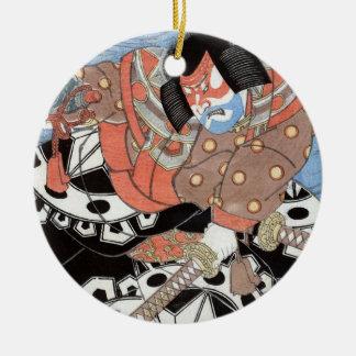 Ornement Rond En Céramique Guerrier vintage samouraï japonais