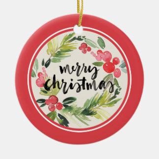 Ornement Rond En Céramique Guirlande d'aquarelle de Joyeux Noël