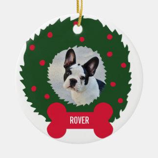 Ornement Rond En Céramique Guirlande de Noël de l'amoureux des chiens drôle