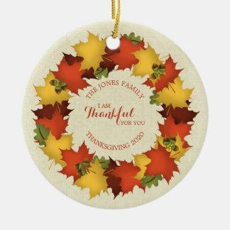 Ornement Rond En Céramique Guirlande de thanksgiving de feuille d'automne