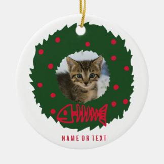 Ornement Rond En Céramique Guirlande drôle de Noël de chat avec la photo de