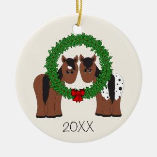 Ornement Rond En Céramique Guirlande mignonne personnalisée de Noël de