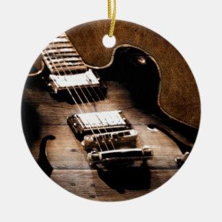 Ornement Rond En Céramique Guitare occidentale en bois de musique country de