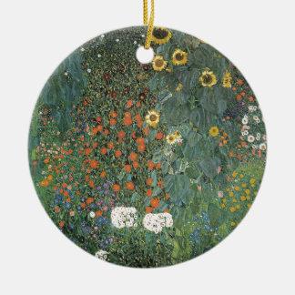 Ornement Rond En Céramique Gustav Klimt - fleurs de tournesols de jardin de