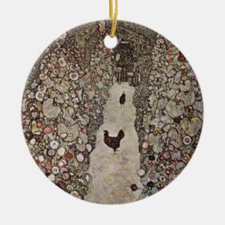 Ornement Rond En Céramique Gustav Klimt - jardin avec des coqs