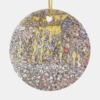 Ornement Rond En Céramique Gustav Klimt - paysage horticole avec le sommet
