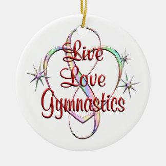 Ornement Rond En Céramique Gymnastique vivante d'amour