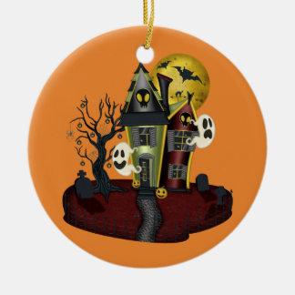 Ornement Rond En Céramique Halloween a hanté la Chambre