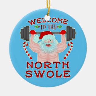 Ornement Rond En Céramique Haltérophile drôle du père noël Swole de Noël