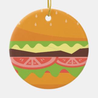 Ornement Rond En Céramique Hamburger