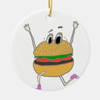 Ornement Rond En Céramique hamburger courant