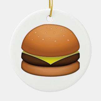 Ornement Rond En Céramique Hamburger de fromage - Emoji