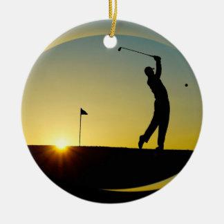 Ornement Rond En Céramique HAMbyWG - coucher du soleil - golfeur