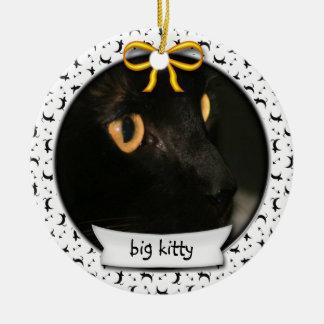 Ornement Rond En Céramique Hanoukka ou premier Noël de Kitty premier