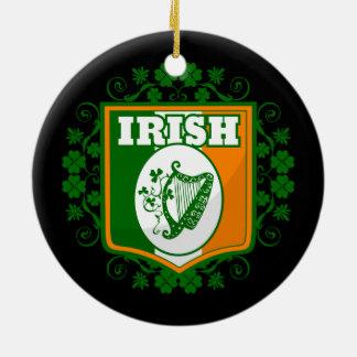 Ornement Rond En Céramique Harpe du jour de St Patrick