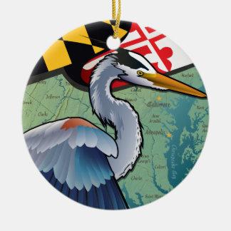 Ornement Rond En Céramique Héron côtier de bleu du Maryland