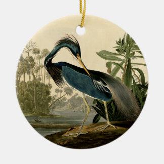 Ornement Rond En Céramique Héron d'Audubon Louisiane