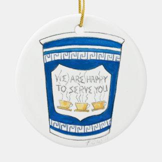 Ornement Rond En Céramique Heureux de vous servir l'ornement de tasse de café