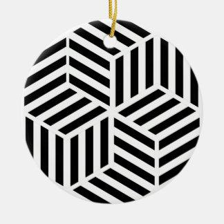 Ornement Rond En Céramique Hexagones