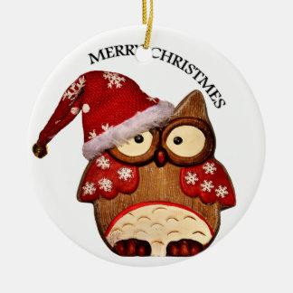 Ornement Rond En Céramique Hibou de Père Noël avec un casquette rouge de Père