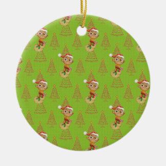 Ornement Rond En Céramique Hiboux et arbres verts de Noël
